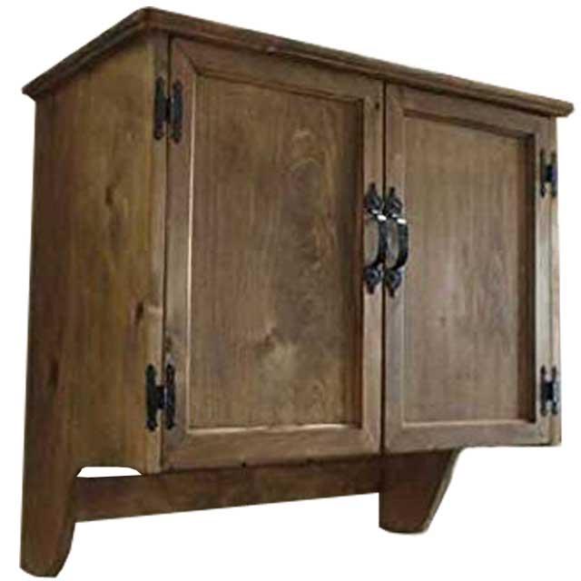 キャビネット 木製扉 アンティークブラウン w65d36h60cm 両開き 壁掛け 木製 ひのき オーダーメイド