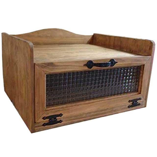 トースター台 チェッカーガラス扉 アンティークブラウン w45d39h27cm アイアン取っ手 木製 ひのき オーダーメイド