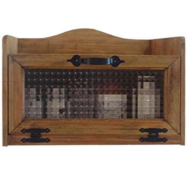 トースター台 チェッカーガラス扉 アンティークブラウン w40d30h27cm アイアン取っ手 木製 ひのき 受注製作