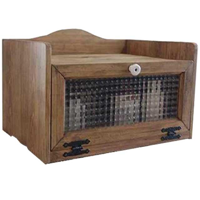 トースター台 アンティークブラウン w40d30h27cm チェッカーガラス扉 陶器取っ手 木製 ひのき オーダーメイド