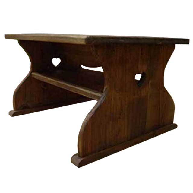 テーブル 木製 ひのき ハートくり抜き アンティークブラウン ミニテーブル ちゃぶ台 50×40×30cm 棚つき 受注製作