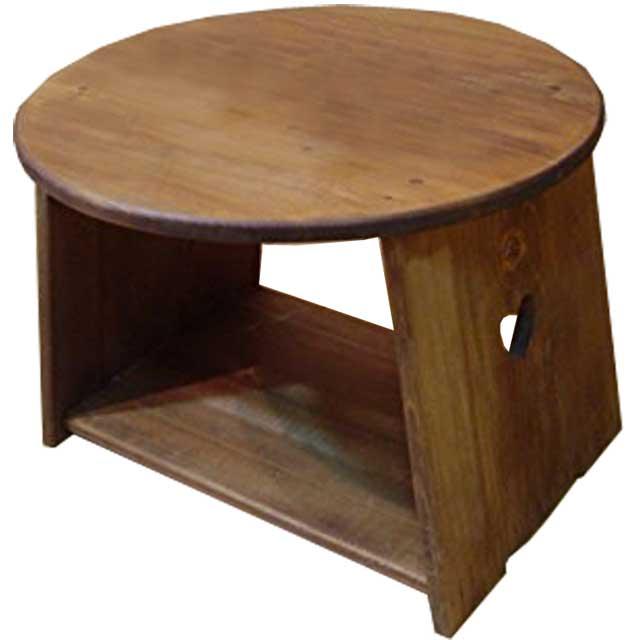 テーブル 木製 ひのき 丸形 ハートくり抜き アンティークブラウン 丸テーブル ラウンドテーブル 48×48×36cm 棚付きタイプ 受注製作