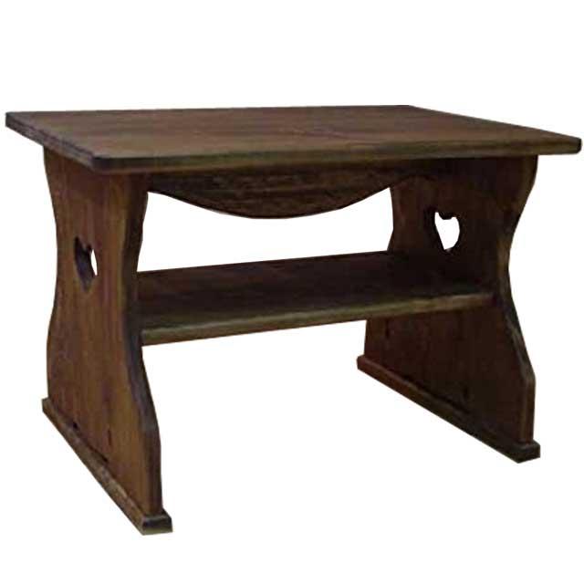 テーブル ハート アンティークブラウン w54d38h37cm 正座仕様 棚つき 木製 ひのき オーダーメイド 1134626