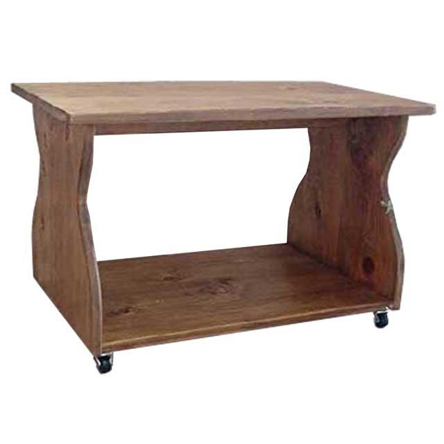 テーブル 幅広天板 アンティークブラウン w67d42h42cm キャスター付き 棚つき 木製 ひのき オーダーメイド