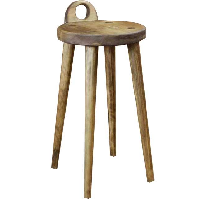 ラウンドチェア 丸椅子 アンティークブラウン w25d25h44cm 持ち手付き 木製 ひのき オーダーメイド