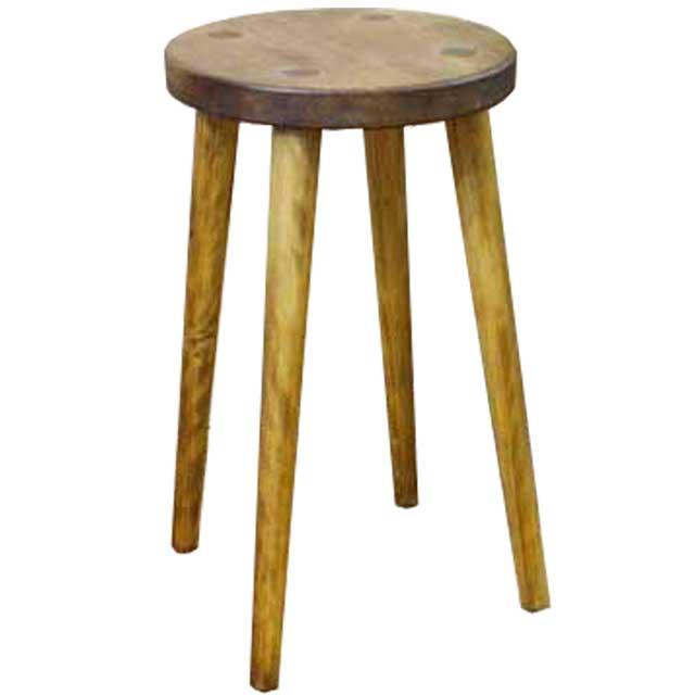スツール 丸形 座面厚み3cm アンティークブラウン w25d25h44cm 木製 ひのき オーダーメイド
