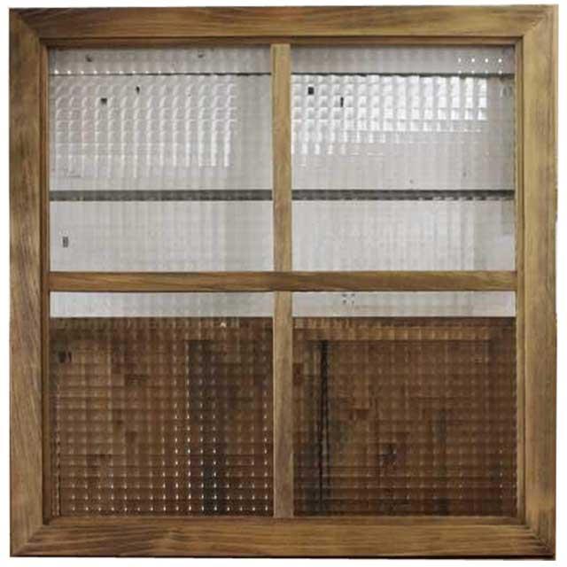 ガラスフレーム 木製 ひのき アンティークブラウン チェッカーガラス 両面仕様桟入り 60×60cm・厚み2.5cm 北欧 オーダーメイド 1327933