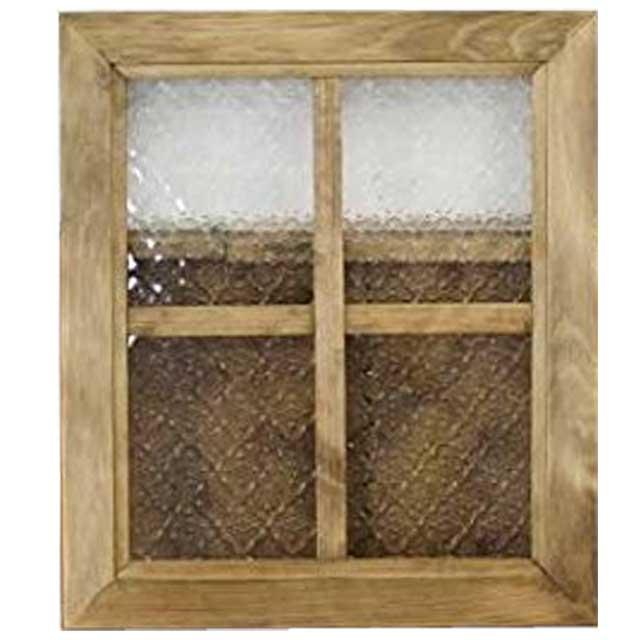 ガラスフレーム フローラガラスフレーム 桟入りガラス窓 40×35cm アンティークブラウン 木製 ひのき 北欧 オーダーメイド 1327933