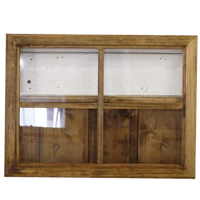 ガラスフレーム 木製 ひのき 透明ガラス 両面仕様桟入り 45×60cm・厚み2.5cm 北欧 アンティークブラウン オーダーメイド 1327933