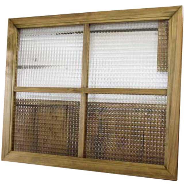 ガラスフレーム 木製 ひのき チェッカーガラス 両面仕様桟入り 75×60cm・厚み2.5cm 北欧(アンティークブラウン) オーダーメイド 1327933