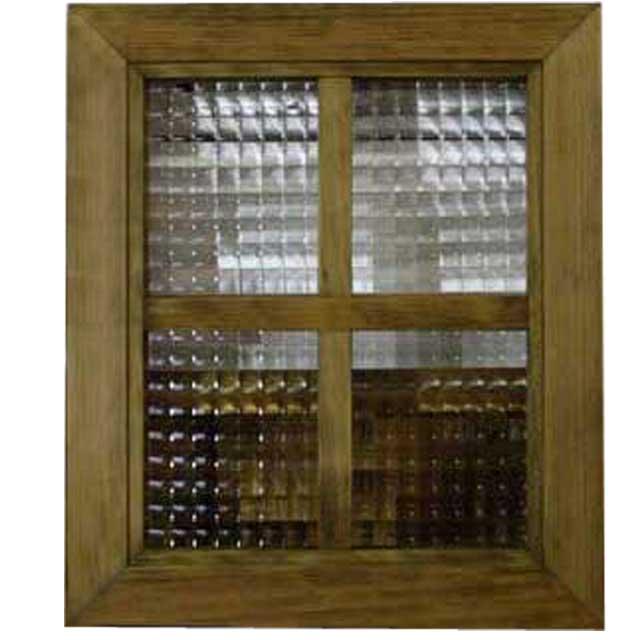 ガラスフレーム 木製 ひのき チェッカーガラス 両面桟入りガラス窓 35×2.5×30cm 北欧(アンティークブラウン) オーダーメイド 1327933