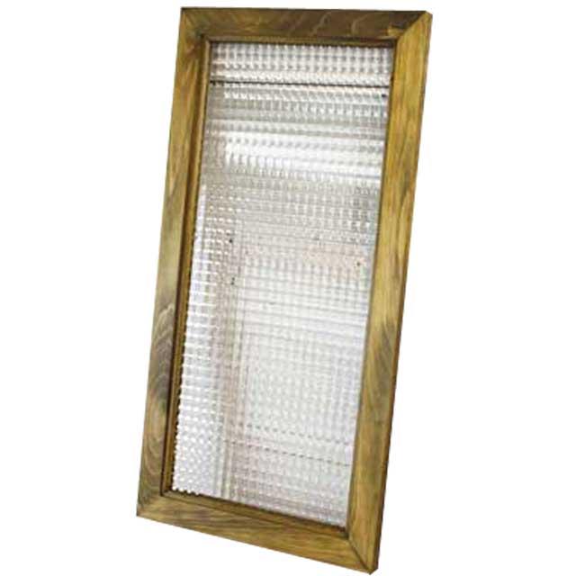 ガラスフレーム 木製 ひのき チェッカーガラス 35×68cm 北欧(アンティークブラウン) オーダーメイド 1354963