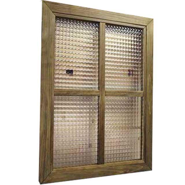 ガラスフレーム 木製 ひのき チェッカーガラス 両面仕様桟入り 45×60cm・厚み2.5cm 北欧(アンティークブラウン) オーダーメイド 1327933