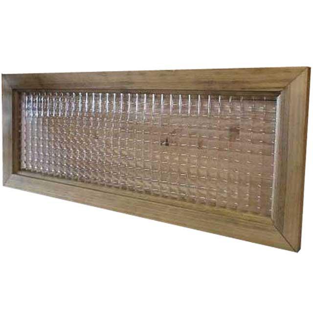 ガラスフレーム チェッカーガラス片面仕様(50×20cm)アンティークブラウン 北欧 木製 ひのき オーダーメイド 1327933