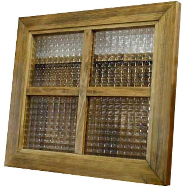ガラスフレーム 木製 ひのき チェッカーガラス 両面仕様桟入り 40×35cm・厚み2.5cm 北欧 アンティークブラウン オーダーメイド 1327933
