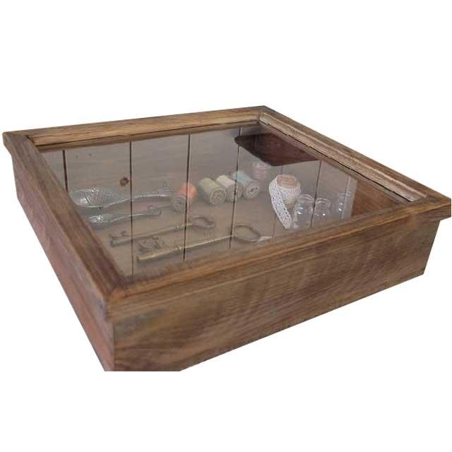 アンティークブラウン 木製ガラスコレクションケース(38×35×10cm) つまみなし 受注製作
