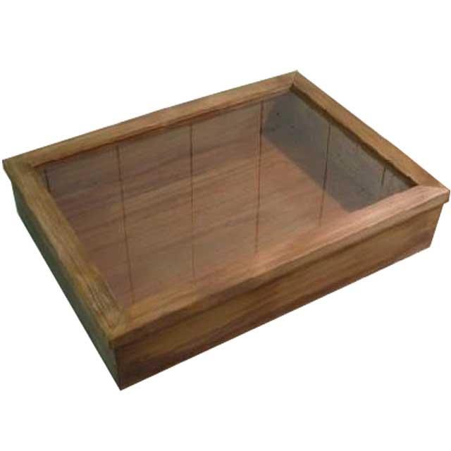 コレクションケース 透明ガラス アンティークブラウン w41d30h9cm つまみなし ひのき 木製 オーダーメイド 1361898