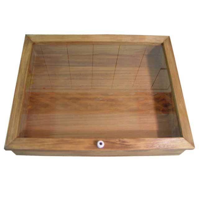 コレクションケース 透明ガラス アンティークブラウン w41d30h9cm 陶器つまみ 木製 ひのき オーダーメイド 1380051