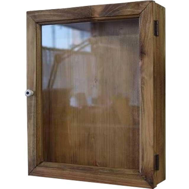 ディスプレイケース 透明ガラス アンティークブラウン w25d7h31cm 木製 ひのき 片開き オーダーメイド
