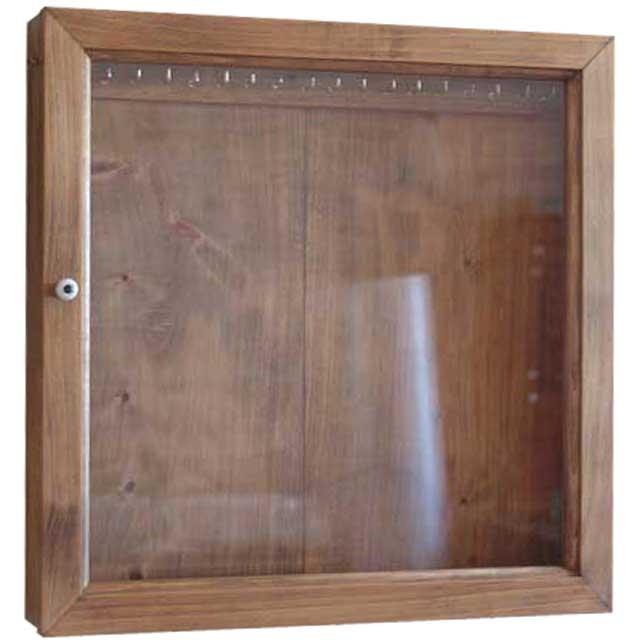 アクセサリーケース L字フック付き アンティークブラウン w40d7h40cm 透明ガラス 木製 ひのき オーダーメイド