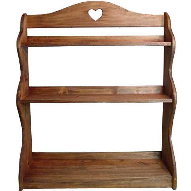 スパイスラック 木製 ひのき カントリーハート 三段ラック 収納棚 キッチン収納 55×19×66cm アンティークブラウン オーダーメイド 1239454