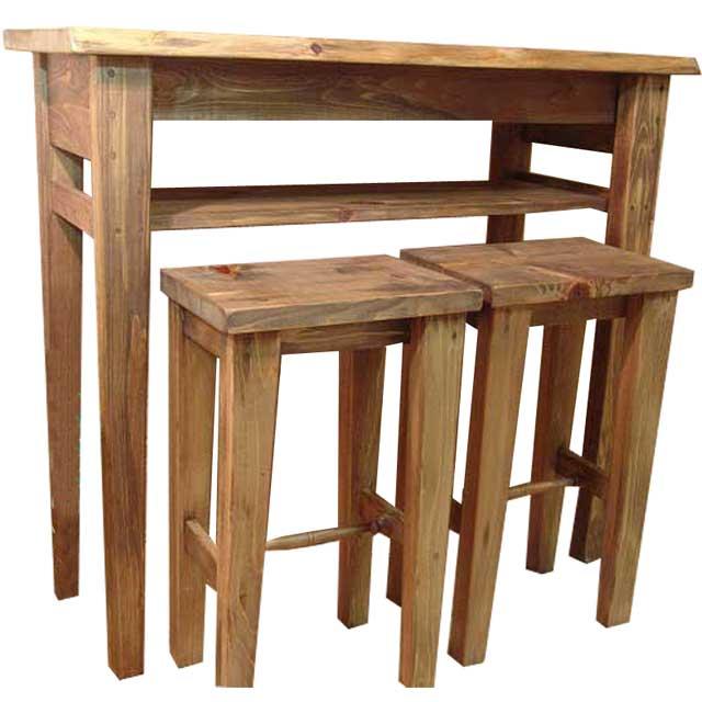 テーブル アンティークブラウン w102d40h90cm カウンターテーブル&角型スツール 2脚セット 受注製作