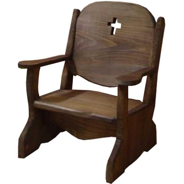 ベビーチェア クロス アンティークブラウン w35d29h42cm 子供用椅子 木製 ひのき オーダーメイド
