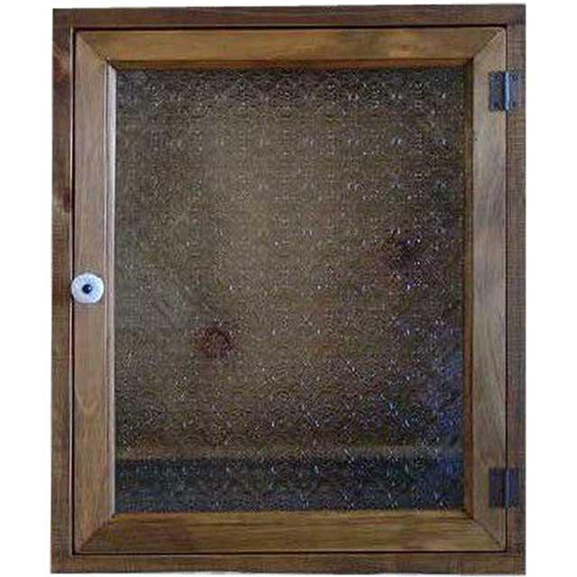 トイレットペーパーキャビネット フローラガラス アンティークブラウン w38d14h46cm 背板付き 木製 ひのき オーダーメイド