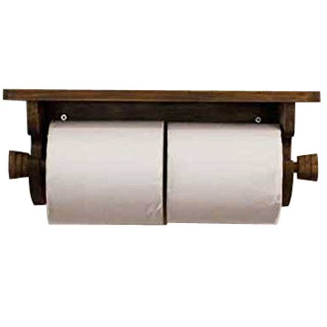 Wooden Hinoki Custom Tailoring 1220163 1213019 That There Is Toilet Paper Holder Double Antique Brown W32d12h15cm Core In