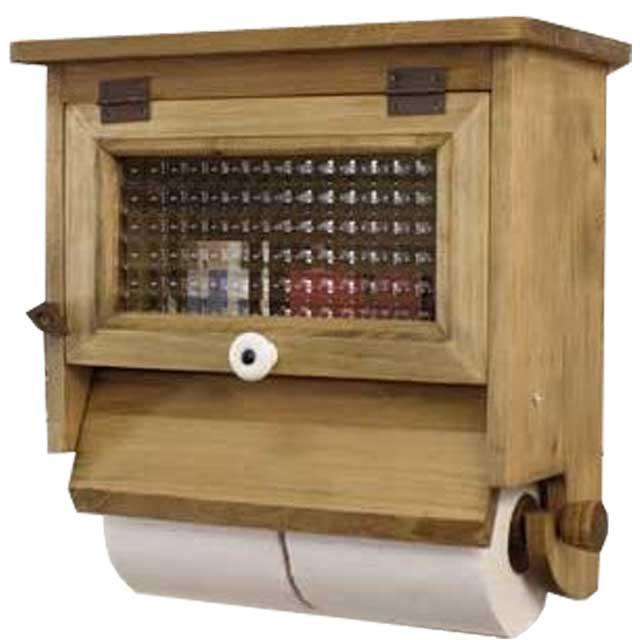 トイレットペーパーホルダー 木製 ひのき ダブルペーパーホルダー チェッカーガラス扉 2個用ストックボックス付き アンティークブラウン 受注製作