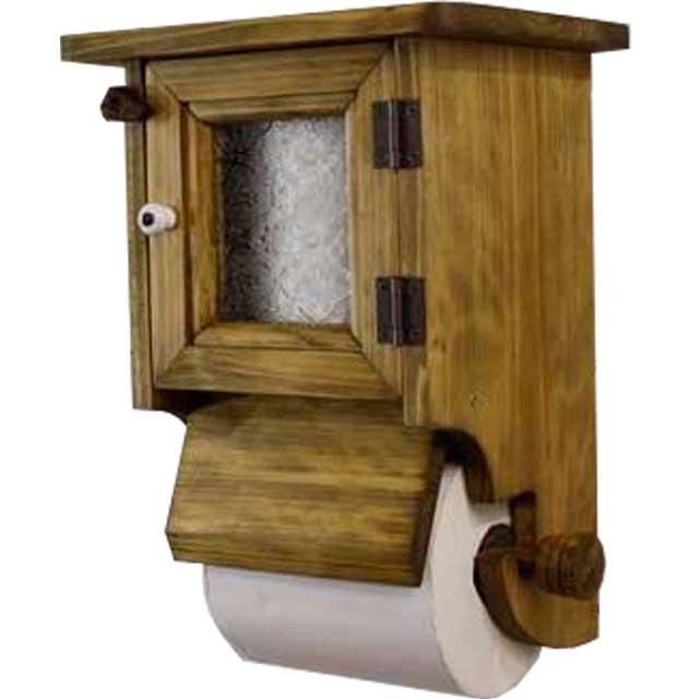 トイレットペーパーホルダー 木製 ひのき フローラガラス扉ストックボックス・押さえカバー付き(アンティークブラウン)受注製作