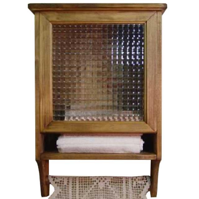 アンティークブラウン チェッカーガラスのタオルストッカー三つ折サイズ ハンガーつき オーダーメイド 1134626