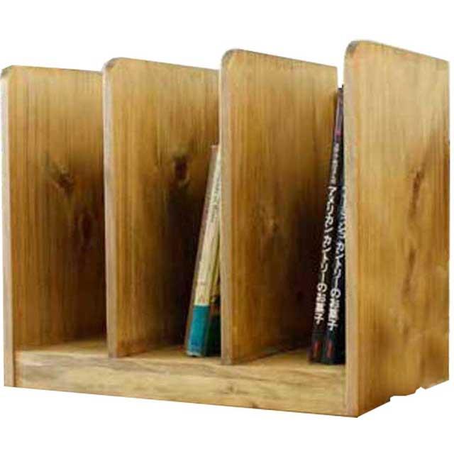 ブックスタンド 木製 ひのき(幅40センチ)仕切り板2枚タイプ 本棚 本立て アンティークブラウン 受注製作