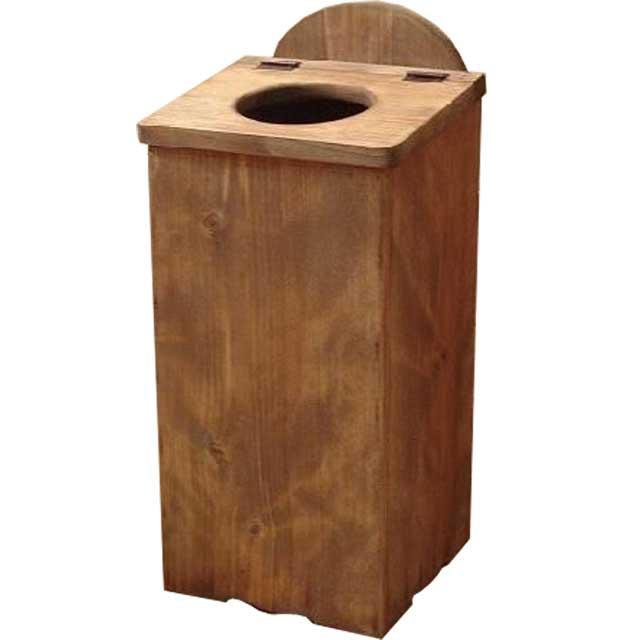 スリムダストボックス アンティークブラウン w22d22h48cm サークル ふた付き 木製 ひのき オーダーメイド