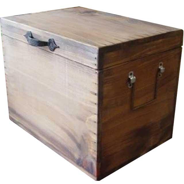 カントリーボックス (W35×D25×H27cm) アンティークブラウン ふた付き収納箱 オーダーメイド