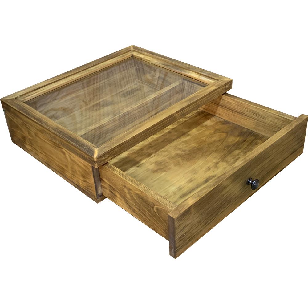 引き出し式コレクションケース 透明ガラス w32d27h9.5cm アンティークブラウン 真鍮つまみ 木製 ひのき ハンドメイド オーダーメイド 1380051