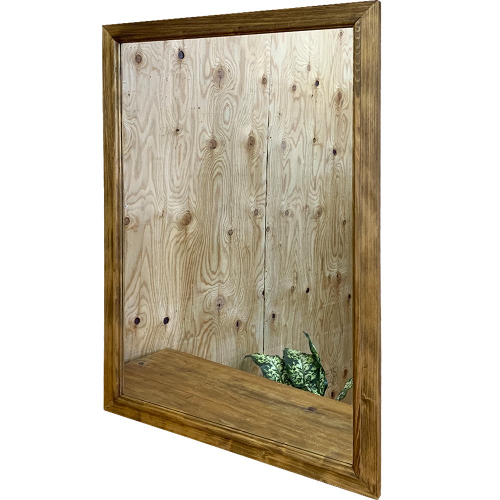 ミラー 縦型 吊り下げ金具付 60×2×90cm アンティークブラウン 木製 ひのき ハンドメイド オーダーメイド