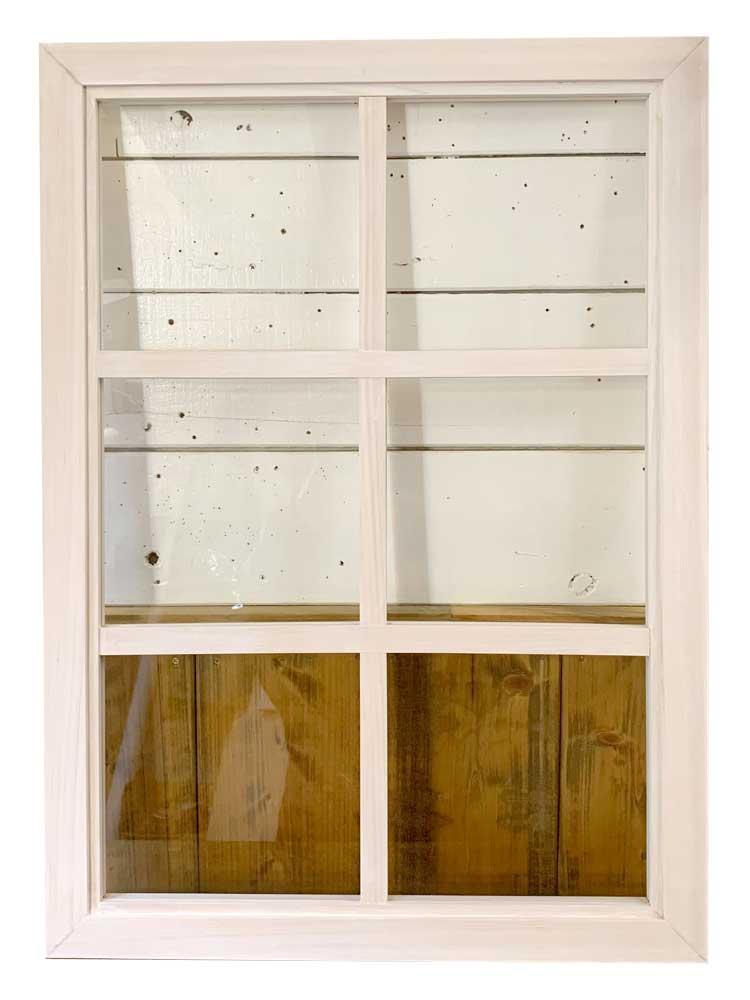 室内窓 透明ガラス 両面桟入り 52×72cm・厚み3.5cm ホワイトステイン ハンドメイド 木製 ひのき オーダーメイド 1327933