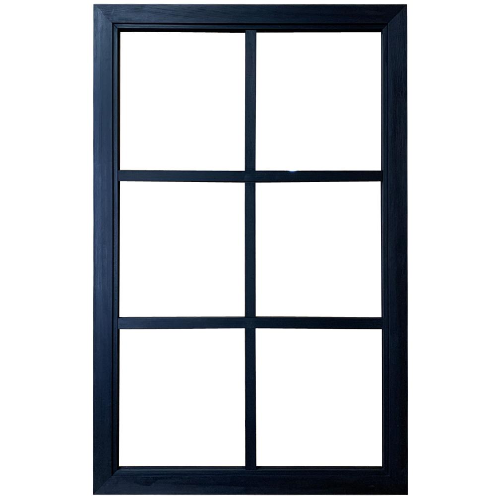 FIX窓 透明ガラス 飾り窓 両面桟入り 57×3.5×90cm ブラックオイルステイン 木製 ひのき ハンドメイド オーダーメイド 1327933