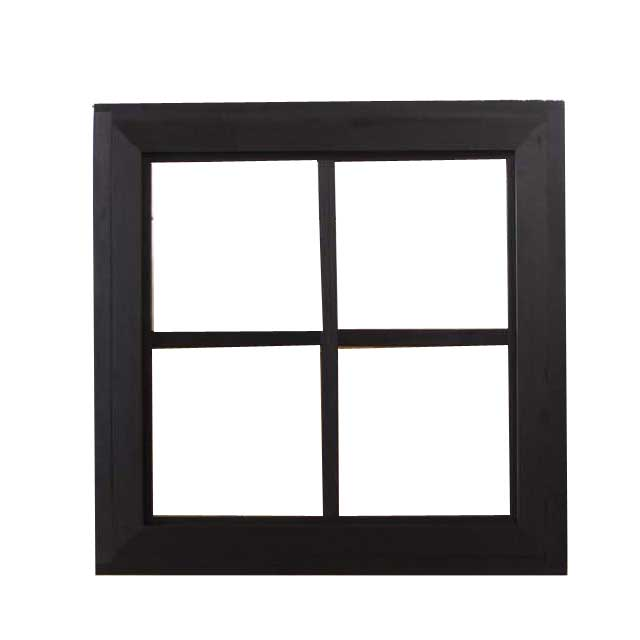 フィックス窓 木製 ひのき ブラックステイン 透明ガラスの窓枠つき室内窓 採光窓 片面桟入り 50×13×50cm オーダーメイド 1327933
