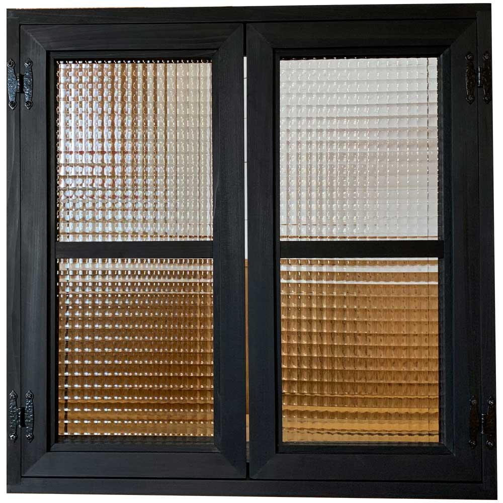 室内窓 ブラックステイン w60d15h60cm チェッカーガラス 両面桟入り 飾り蝶番 アイアン取手 木製 ひのき ハンドメイド オーダーメイド 1327933