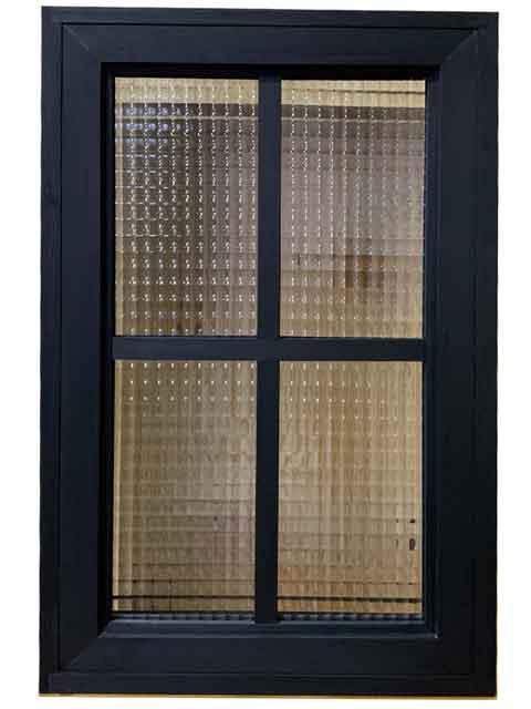 経典 チェッカーガラス 木製 42x15x64cm ハンドメイド 室内窓 ひのき 両面桟入り オーダーメイド:エンジェルズ ダスト ブラックステイン はめ殺し-木材・建築資材・設備