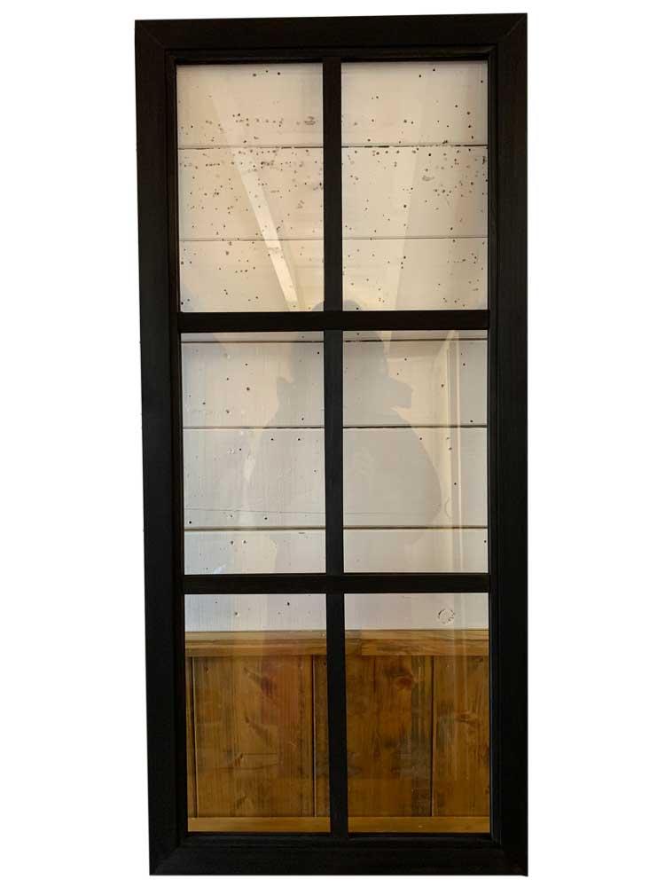 ガラスフレーム ブラックステイン 透明ガラス 両面仕様桟入り 100×45cm・厚み2.5cm 木製 ひのき ハンドメイド オーダーメイド 1327933