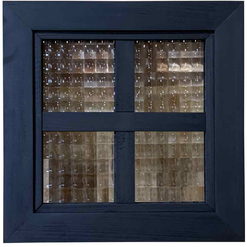 フィックス窓 チェッカーガラス 室内窓 両面十字桟入り 25×3.5×25cm ブラックオイルステイン 北欧 木製 ひのき ハンドメイド オーダーメイド 1327933