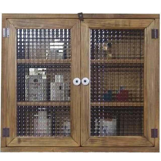 アンティークブラウン チェッカーガラスの背板付きキャビネット(55×20×48cm)(ニッチ用埋め込みタイプ) オーダーメイド