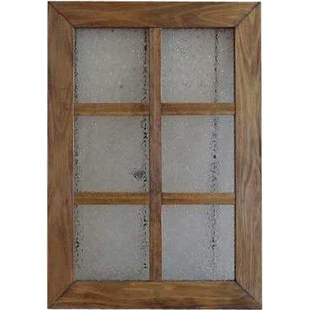 ガラスフレーム アンティークブラウン フローラガラス 両面仕様桟入り 35×50cm・厚み2.5cm 北欧 木製 ひのき オーダーメイド 1327933