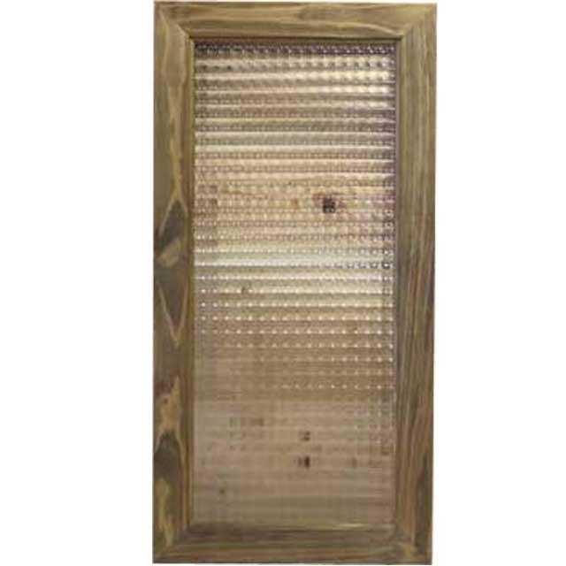アンティークブラウン チェッカーガラスのガラスフレーム ガラス窓(30×60cm) 北欧 オーダーメイド 1327933