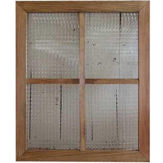 ガラスフレーム チェッカーガラス 両面仕様桟入り 50×60cm・厚み2.5cm アンティークブラウン 北欧 木製 ひのき オーダーメイド 1327933