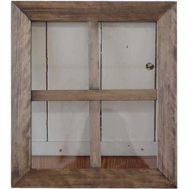 アンティークブラウン 透明ガラスのガラスフレーム 桟入りガラス窓(40×35cm) 北欧 オーダーメイド 1327933