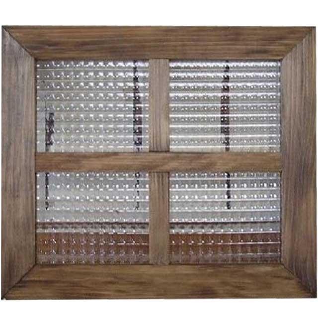 アンティークブラウン チェッカーガラスのガラスフレーム 桟入りガラス窓(40×35cm) 北欧 ハンドメイド 木製 ひのき オーダーメイド 1327933